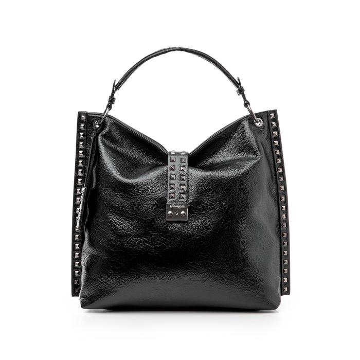 Maxi bag nera in laminato , Borse, 142409318LMNEROUNI