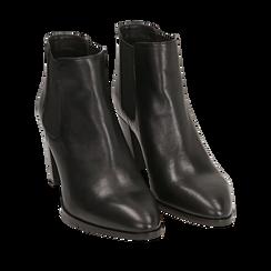 Chelsea boots neri in pelle di vitello, tacco 7 cm, Scarpe, 15J492446VINERO035, 002a