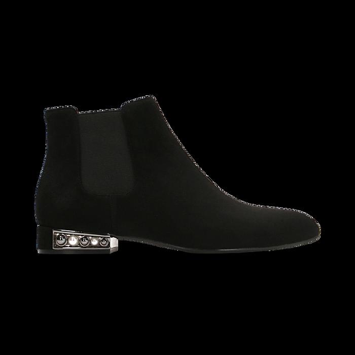Chelsea Boots neri scamosciati, tacco basso scintillante, Primadonna, 124911285MFNERO