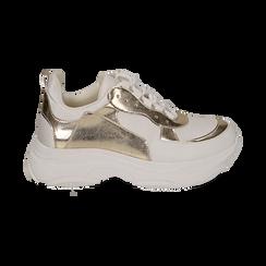 Dad shoes en eco-piel color blanco/dorado, Zapatos, 15K429169EPBIOR036, 001 preview