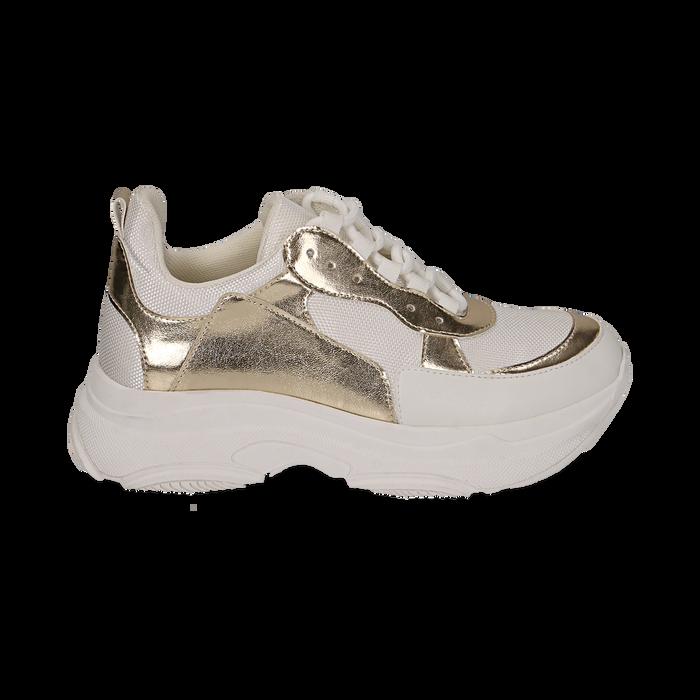 Dad shoes en eco-piel color blanco/dorado, Zapatos, 15K429169EPBIOR036
