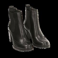 Ankle boots en cuir noir, talon 7,50 cm, Primadonna, 167738004PENERO036, 002a