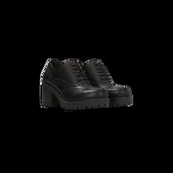 Francesine stringate nere tacco medio quadrato e suola alta, lavorazione Duilio, 122865714EPNERO036, 002