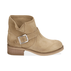Biker boots taupe in camoscio, Scarpe, 157782014CMTAUP039, 001 preview