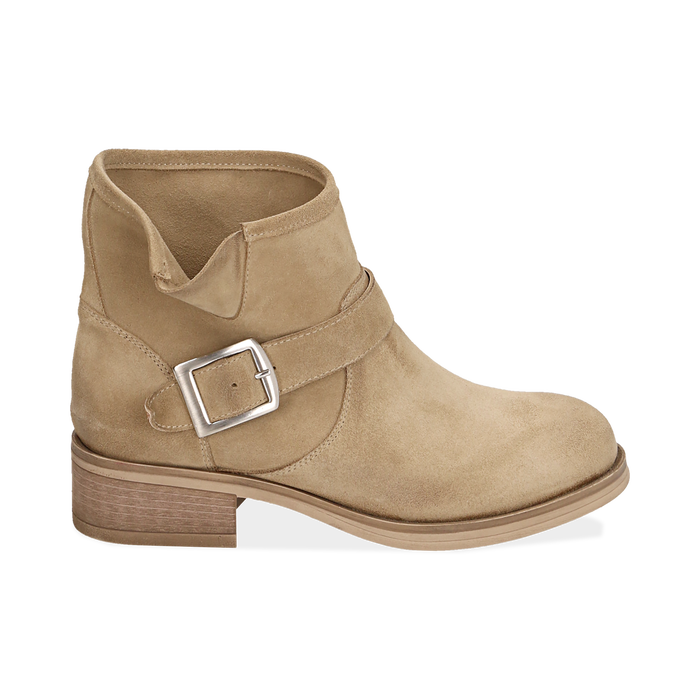 Biker boots taupe in camoscio, Scarpe, 157782014CMTAUP039