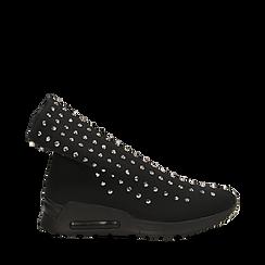 Sneakers nere slip-on in lycra con cristalli, 122808611LYNERO036, 001a