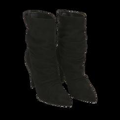 Ankle boots drappeggiati neri in microfibra, tacco 10 cm , Stivaletti, 142152925MFNERO035, 002a