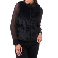 Pelliccia smanicata nera in eco-fur, Abbigliamento, 14B443007FUNERO3XL, 001a