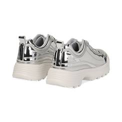 Dad shoes argento in vernice mirror con maxi-suola , Scarpe, 130101201SPARGE037, 004 preview