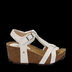 Sandali platform bianchi in eco-pelle, zeppa in sughero 7 cm , Primadonna, 132141452EPBIAN035, 001a