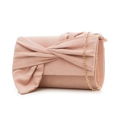 Pochette rosa nude in microfibra con fiocco, Borse, 132300508MFNUDEUNI, 004 preview