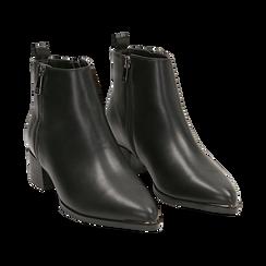 Camperos neri in eco-pelle , tacco 4,5 cm , Stivaletti, 144820534EPNERO036, 002 preview