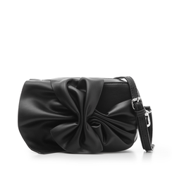Camera bag nera in eco-pelle con fiocco, Borse, 132300505EPNEROUNI, 001a