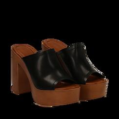 Sandali platform neri in eco-pelle, tacco 12 cm , Primadonna, 132177611EPNERO035, 002a