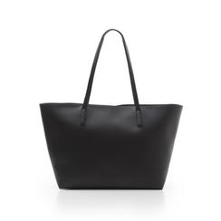 Maxi-bag nera in eco-pelle con manici in tinta, Borse, 133783134EPNEROUNI, 003 preview