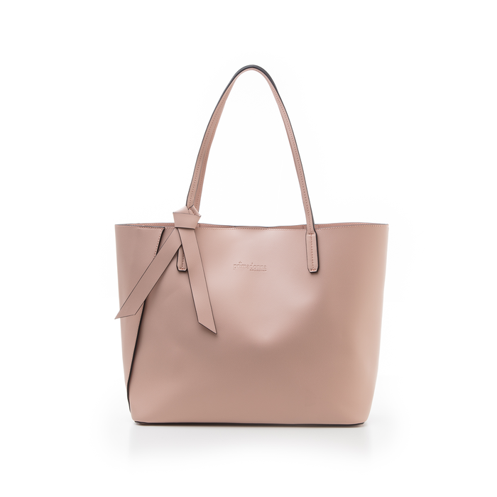 b0f5860e42 Shopping bag rosa in eco-pelle con fiocco decor