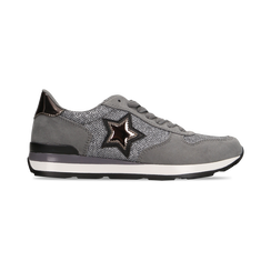 Sneakers grigie dettagli glitter , Scarpe, 121308201LMGRIG, 001 preview