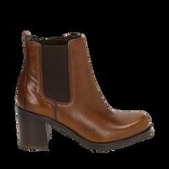 Chelsea boots cuoio in pelle, tacco 7,50 cm , Primadonna, 167734401PECUOI035, 001a