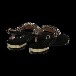 Sandali gioiello infradito neri in microfibra, Primadonna, 134994221MFNERO, 004 preview