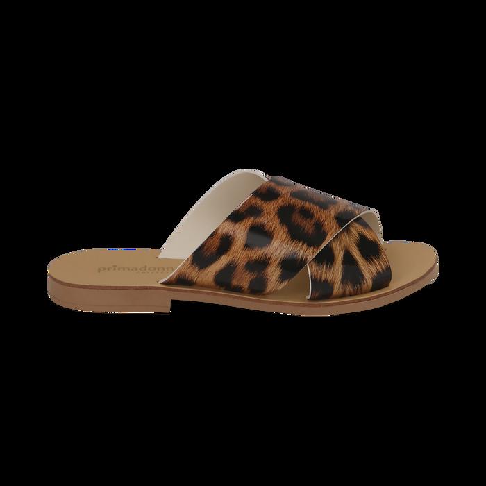 Mules flat leopard in vernice, Saldi Estivi, 136767002VELEMA035