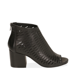 Botines open toe en eco piel perforada color negro, tacón 7 cm, Primadonna, 150726931EPNERO036, 001a
