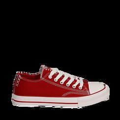 Sneakers rosse in canvas, Scarpe, 137300862CAROSS036, 001a