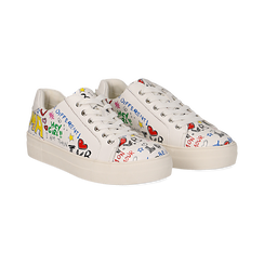 Sneakers bianche in eco-pelle con scritte cartoon , Scarpe, 139301164EPBIAN036, 002 preview