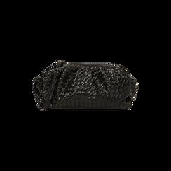 Maxi clutch nera intrecciata, IDEE REGALO, 165122668EINEROUNI, 001 preview
