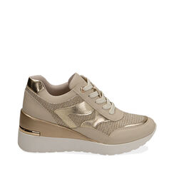 Sneakers beige, cuña 7 cm, Primadonna, 177516594EPBEIG037, 001a
