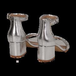 Sandali argento in laminato, tacco 5,50 cm , Sandali con tacco, 132707031LMARGE036, 004 preview