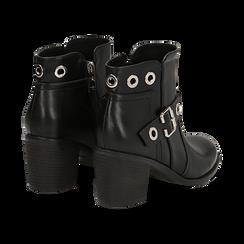 Ankle boots neri in eco-pelle con oblò, tacco 7 cm, Scarpe, 130682986EPNERO036, 004 preview
