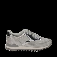 Sneakers argento in tessuto laminato e dettagli mirror, Scarpe, 130100107LMARGE036, 001a