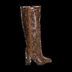 Stivali marroni in eco-pelle stampa pitone, tacco 9,5 cm , Primadonna, 142166710PTMARR036, 001a