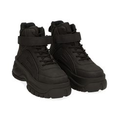 Sneakers platform nere in micro-nabuk, con strap, zeppa 5,50 cm , Scarpe, 14D814403MNNERO035, 002 preview