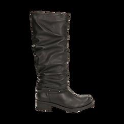 Stivali neri in eco-pelle, tacco 4,5 cm , 140585091EPNERO035, 001a