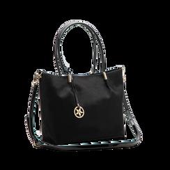 Maxi-bag a spalla nera in microfibra scamosciata, Saldi, 125702033MFNEROUNI, 003 preview