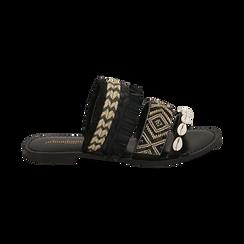 Ciabatte nere in rafia con conchiglie, Scarpe, 15K904448RFNERO, 001 preview