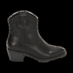 Ankle boots neri in eco-pelle, tacco 4,50 cm, Stivaletti, 150693111EPNERO036, 001 preview