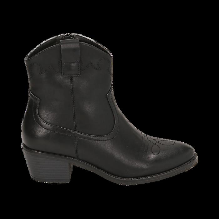 Ankle boots neri in eco-pelle, tacco 4,50 cm, Stivaletti, 150693111EPNERO036