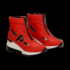 Sneakers a calza rosse in tessuto tecnico, zeppa 6 cm , Scarpe, 14A718203TSROSS036, 002 preview