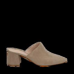 Mules taupe in camoscio con punta affusolata, tacco 6 cm, Scarpe, 13D602204CMTAUP035, 001a