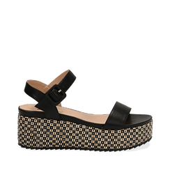 Sandali platform neri in eco-pelle, zeppa intrecciata 6,50 cm , Scarpe, 134938301EPNERO035, 001a