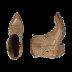 Camperos cuoio in pelle, tacco 4 cm, Primadonna, 157732901PECUOI036, 003 preview