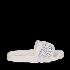 Zeppe bianche in pvc con catene, Saldi Estivi, 112028208EPBIAN035, 001a