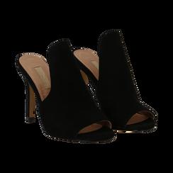 Mules nere in microfibra, tacco stiletto 10 cm, Primadonna, 134833121MFNERO035, 002 preview
