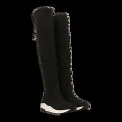 Sneakers overknee nere con suola bianca, 129367116MFNERO036, 002