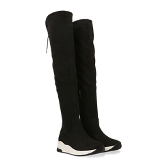 Sneakers overknee nere con suola bianca, Scarpe, 129367116MFNERO, 002 preview