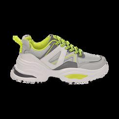 Dad shoes bianche in tessuto tecnico con dettagli fluo, zeppa 6 cm , Scarpe, 14D814101TSBIAN035, 001 preview