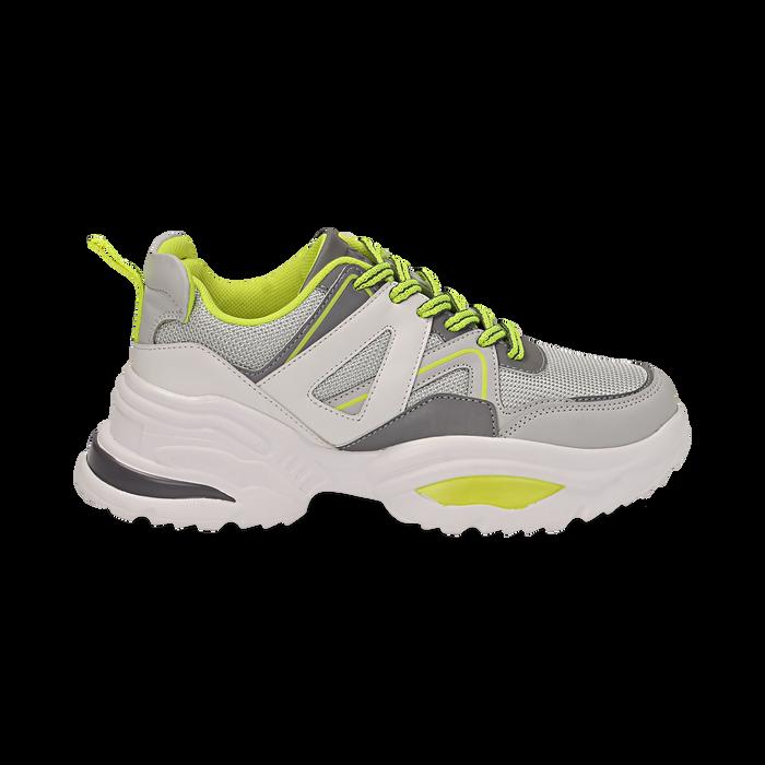 Dad shoes bianche in tessuto tecnico con dettagli fluo, zeppa 6 cm , Scarpe, 14D814101TSBIAN035
