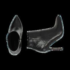 Ankle boots neri stampa vipera, tacco 11 cm , Primadonna, 162168616EVNERO036, 003 preview